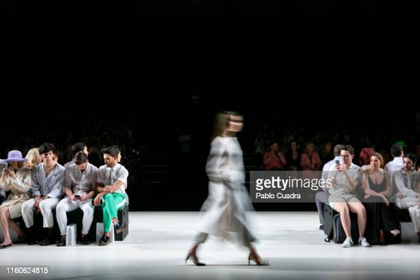 Model walks the runway at the Angel Schlesser fashion show during the Mercedes Benz Fashion Week Autumn/Winter 2019-2020 at Ifema on July 07, 2019 in...
