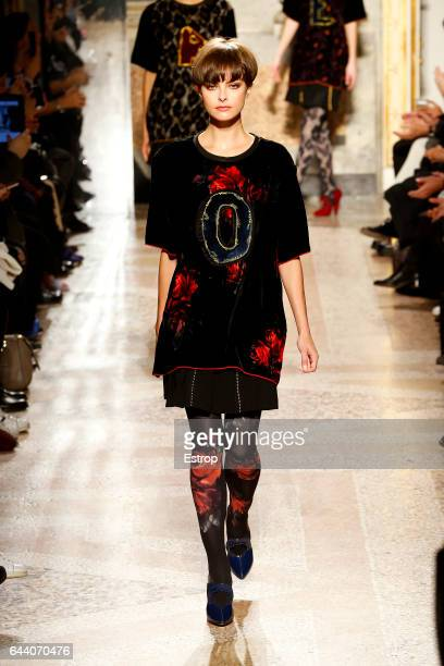 A model walks the runway at the Angelo Marani show during Milan Fashion Week Fall/Winter 2017/18 on February 22 2017 in Milan Italy