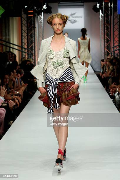 A model walks the runway at the Anglomania / Westwood fashion show during the MercedesBenz Fashion Week Berlin Spring/Summer 2008 held at Brandenburg...