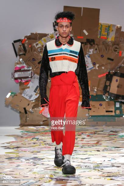 Model walks the runway at the Angus Chiang show at Fashion Scout during the London Fashion Week February 2017 collections on February 17, 2017 in...