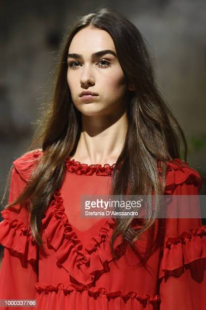 A model walks the runway at the Aniye By Fashion Show SS19 on July 16 2018 in Milan Italy