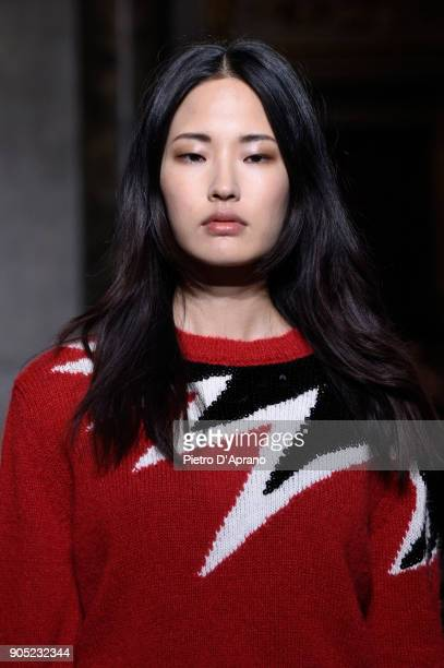 A model walks the runway at the Aniye By show during Milan Men's Fashion Week Fall/Winter 2018/19 on January 15 2018 in Milan Italy
