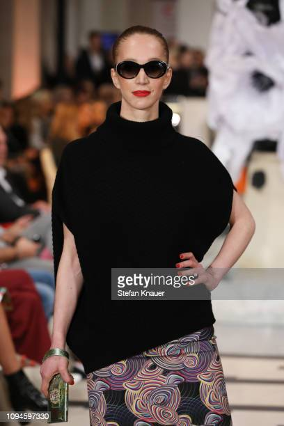 A model walks the runway at the Anja Gockel show during the Berlin Fashion Week Autumn/Winter 2019 at Hotel Adlon on January 15 2019 in Berlin Germany