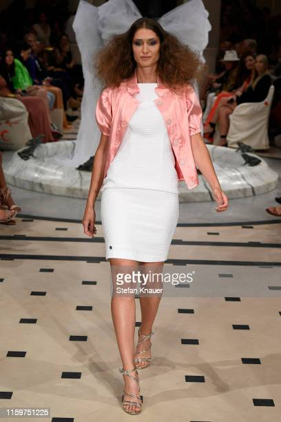 A model walks the runway at the Anja Gockel show during the Berlin Fashion Week Spring/Summer 2020 at Hotel Adlon on July 02 2019 in Berlin Germany