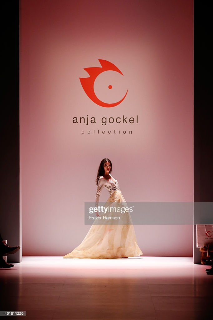 A model walks the runway at the Anja Gockel show during the Mercedes-Benz Fashion Week Berlin Autumn/Winter 2015/16 at Brandenburg Gate on January 20, 2015 in Berlin, Germany.