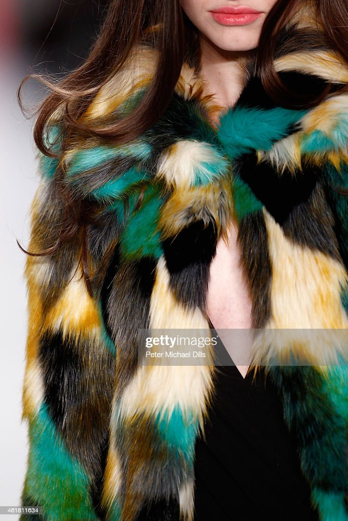 A model (fashion detail) walks the runway at the Anja Gockel show during the Mercedes-Benz Fashion Week Berlin Autumn/Winter 2015/16 at Brandenburg Gate on January 20, 2015 in Berlin, Germany.