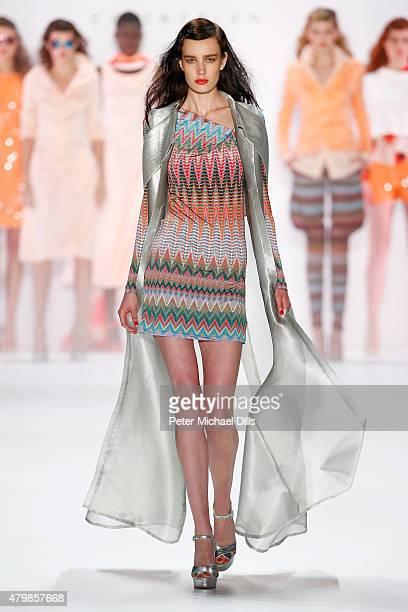 A model walks the runway at the Anja Gockel show during the MercedesBenz Fashion Week Berlin Spring/Summer 2016 at Brandenburg Gate on July 8 2015 in...