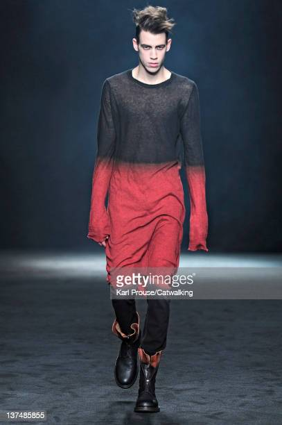 A model walks the runway at the Ann Demeulemeester Autumn Winter 2012 fashion show during Paris Menswear Fashion Week on January 21 2012 in Paris...