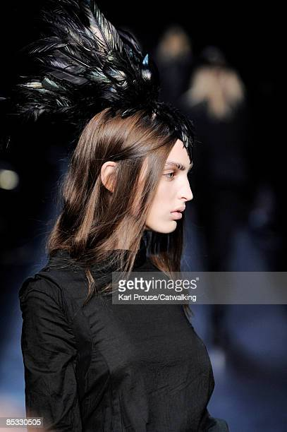 Model walks the runway at the Ann Demeulemeester Ready-to-Wear A/W 2009 fashion show during Paris Fashion Week at Couvent des Cordeliers on March 7,...
