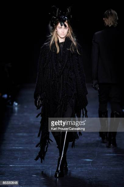A model walks the runway at the Ann Demeulemeester ReadytoWear A/W 2009 fashion show during Paris Fashion Week at Couvent des Cordeliers on March 7...