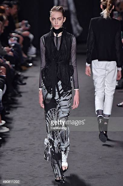 Model walks the runway at the Ann Demeulemeester Spring Summer 2016 fashion show during Paris Fashion Week on October 1, 2015 in Paris, France.