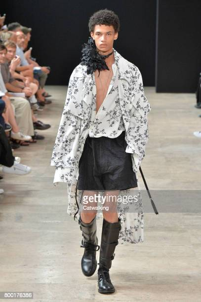 Model walks the runway at the Ann Demeulemeester Spring Summer 2018 fashion show during Paris Menswear Fashion Week on June 23, 2017 in Paris, France.