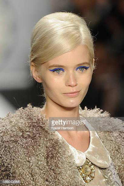 A model walks the runway at the Anna Sui Fall 2012 fashion show during MercedesBenz Fashion Week at The Theatre at Lincoln Center on February 15 2012...