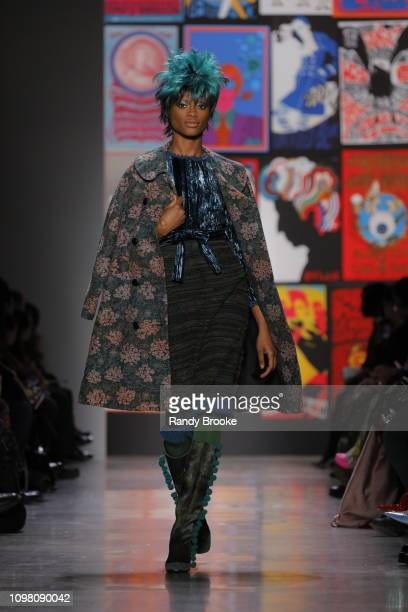 A model walks the runway at the Anna Sui Fall 2019 fashion show February 2019 during New York Fashion Week The Shows at Gallery I at Spring Studios...