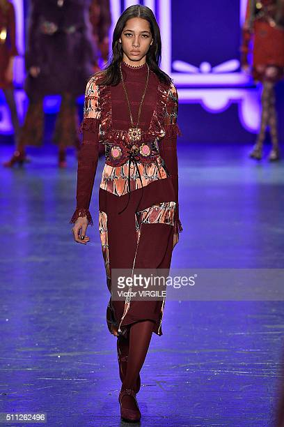 A model walks the runway at the Anna Sui fashion show as a part of Fall/Winter 2016 New York Fashion Week on February 17 2016 in New York City