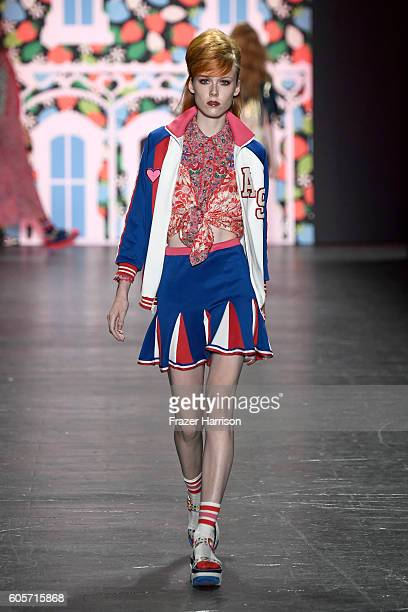 A model walks the runway at the Anna Sui fashion show during New York Fashion Week The Shows at The Arc Skylight at Moynihan Station on September 14...