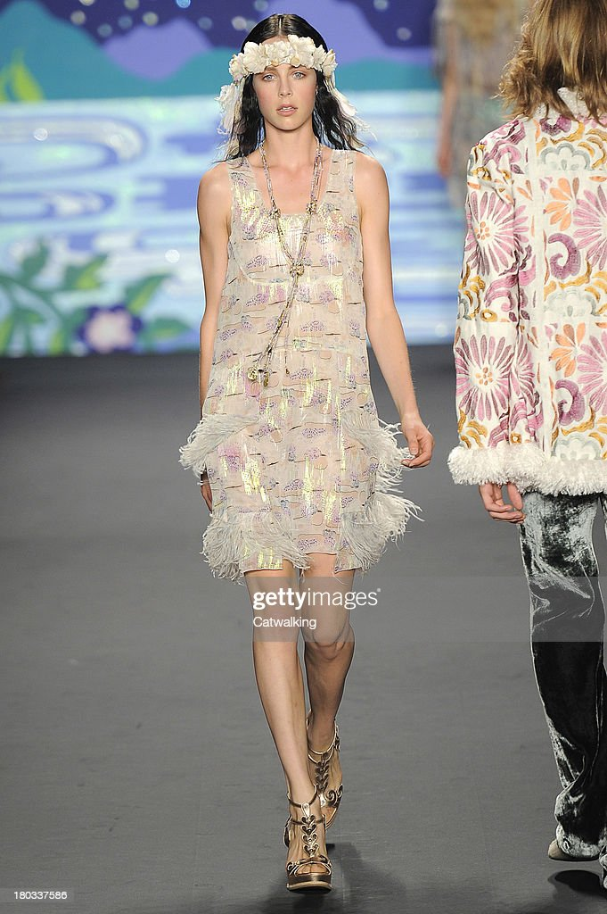 A model walks the runway at the Anna Sui Spring Summer 2014 fashion show during New York Fashion Week on September 11, 2013 in New York, United States.