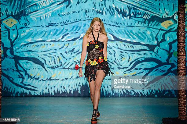 A model walks the runway at the Anna Sui Spring Summer 2016 fashion show during New York Fashion Week on September 16 2015 in New York United States
