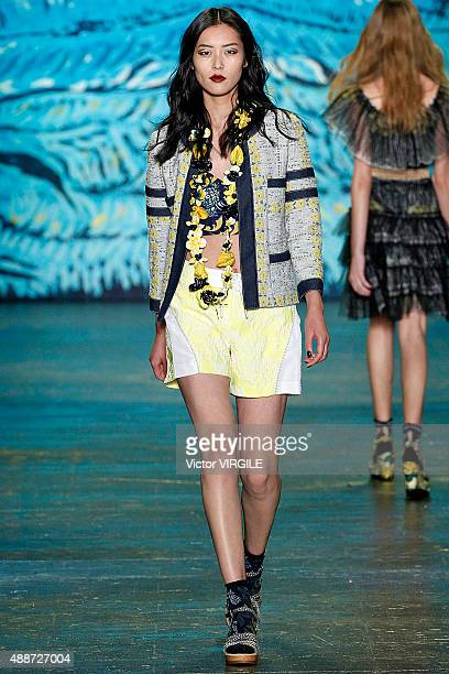 A model walks the runway at the Anna Sui Spring Summer 2016 fashion show during the New York Fashion Week on September 16 2015 in New York City