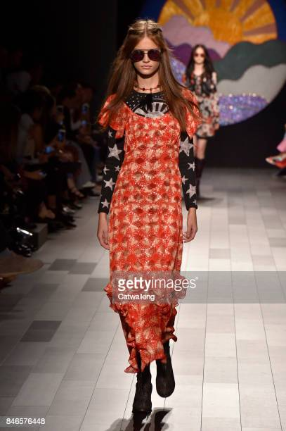 Model walks the runway at the Anna Sui Spring Summer 2018 fashion show during New York Fashion Week on September 11, 2017 in New York, United States.