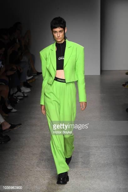 A model walks the runway at the Annakiki show during Milan Fashion Week Spring/Summer 2019 on September 19 2018 in Milan Italy