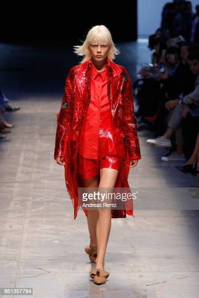 A model walks the runway at the Annakiki show during Milan Fashion Week Spring/Summer 2018 on September 22 2017 in Milan Italy