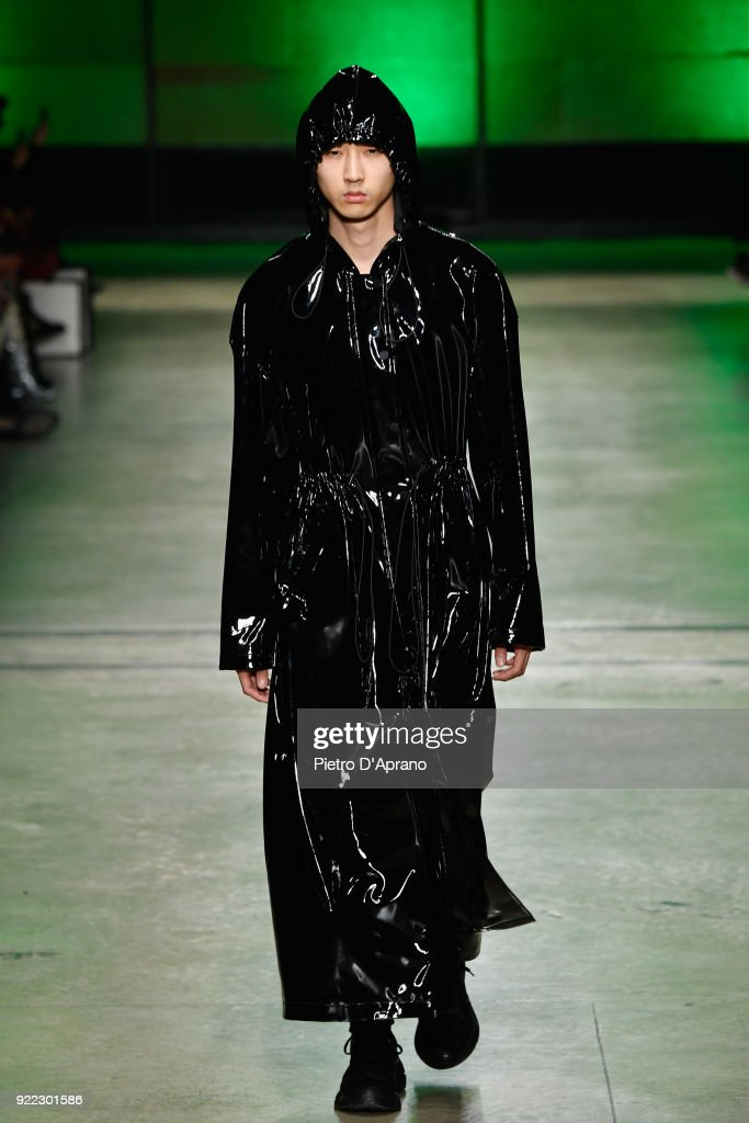 A model walks the runway at the Annakiki show during Milan Fashion Week Fall/Winter 2018/19 on February 21, 2018 in Milan, Italy.