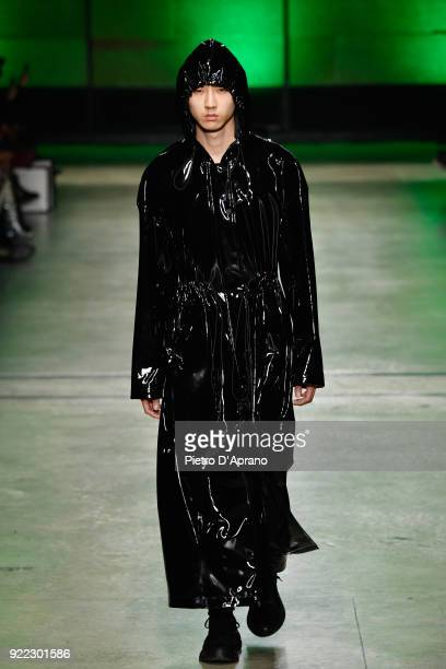 A model walks the runway at the Annakiki show during Milan Fashion Week Fall/Winter 2018/19 on February 21 2018 in Milan Italy