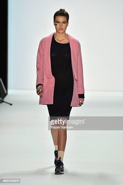 A model walks the runway at the Anne Gorke show during MercedesBenz Fashion Week Autumn/Winter 2014/15 at Brandenburg Gate on January 17 2014 in...