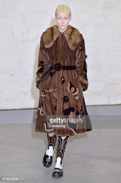 A model walks the runway at the Anne Sofie Madsen Winter 2016 fashion show during Paris Fashion Week on March 2 2016 in Paris France