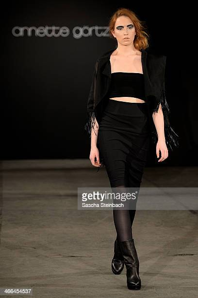 Model walks the runway at the Annette Goertz show during Platform Fashion Dusseldorf on February 1, 2014 in Dusseldorf, Germany.