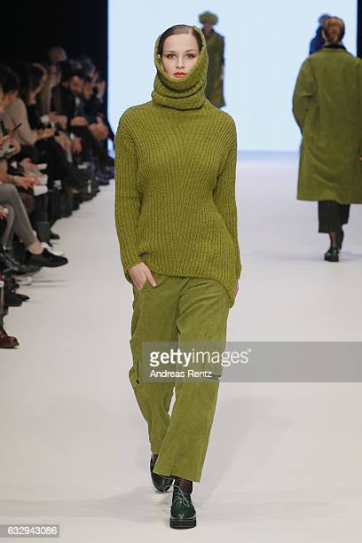 A model walks the runway at the Annette Goertz show during Platform Fashion January 2017 at Areal Boehler on January 28 2017 in Duesseldorf Germany