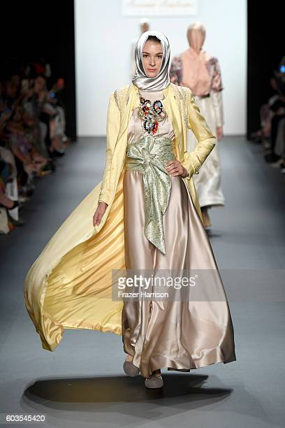 A model walks the runway at the Anniesa Hasibuan during New York Fashion Week The Shows at The Dock Skylight at Moynihan Station on September 12 2016...