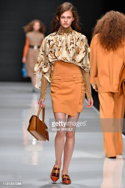 A model walks the runway at the Anteprima Ready to Wear Fall/Winter 20192020 fashion show at Milan Fashion Week Autumn/Winter 2019/20 on February 21...