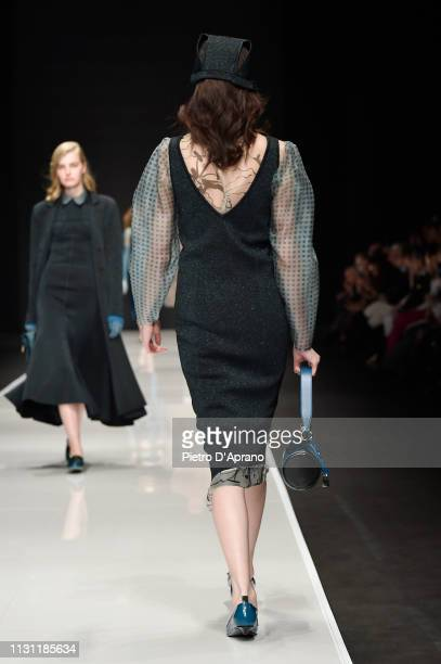 A model walks the runway at the Anteprima show at Milan Fashion Week Autumn/Winter 2019/20 on February 21 2019 in Milan Italy