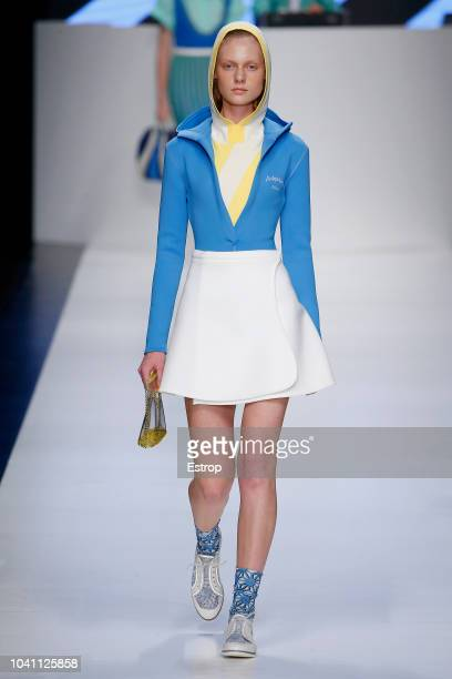 A model walks the runway at the Anteprima show during Milan Fashion Week Spring/Summer 2019 on September 20 2018 in Milan Italy