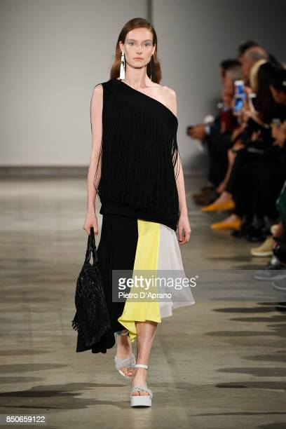 A model walks the runway at the Anteprima show during Milan Fashion Week Spring/Summer 2018 on September 21 2017 in Milan Italy