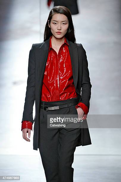 A model walks the runway at the Anthony Vaccerello Autumn Winter 2014 fashion show during Paris Fashion Week on February 25 2014 in Paris France
