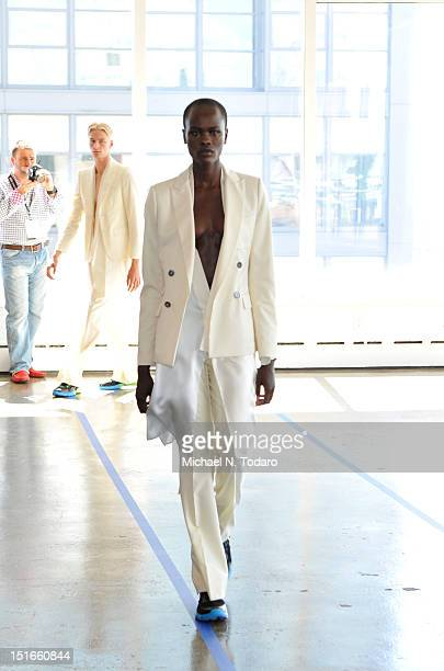 Model walks the runway at the Antonio Azzuolo spring 2013 presentation during Mercedes-Benz Fashion Week at Milk Studios on September 9, 2012 in New...