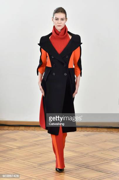 A model walks the runway at the Antonio Berardi Autumn Winter 2018 fashion show during Milan Fashion Week on February 24 2018 in Milan Italy