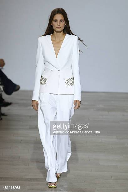 Model walks the runway at the Antonio Berardi show during London Fashion Week Spring/Summer 2016/17 on September 21, 2015 in London, England.