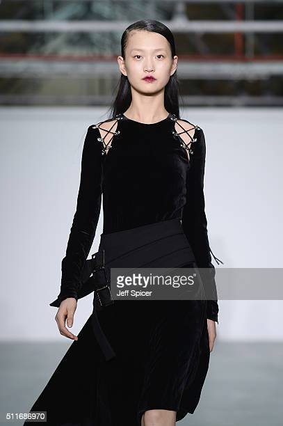 A model walks the runway at the Antonio Berardi show during London Fashion Week Autumn/Winter 2016/17 at Brewer Street Car Park on February 22 2016...