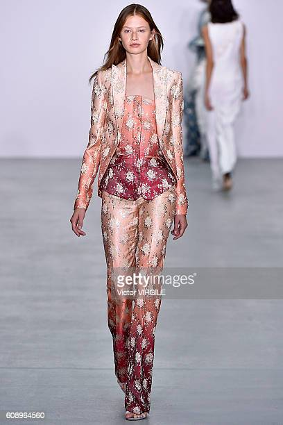 A model walks the runway at the Antonio Berardi show during London Fashion Week Spring/Summer collections 2017 on September 19 2016 in London United...