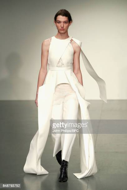 A model walks the runway at the Antonio Berardi show during London Fashion Week September 2017 on September 18 2017 in London England
