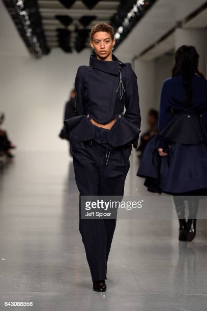 A model walks the runway at the Antonio Berardi show during the London Fashion Week February 2017 collections on February 20 2017 in London England