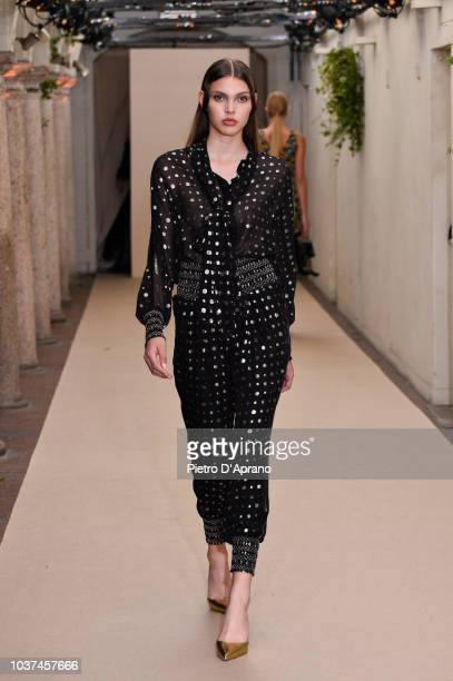 A model walks the runway at the Antonio Croce show during Milan Fashion Week Spring/Summer 2019 on September 21 2018 in Milan Italy