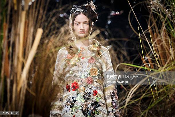 A model walks the runway at the Antonio Marras fashion show during Milan Fashion Week Fall/Winter 2016/17 on February 27 2016 in Milan Italy