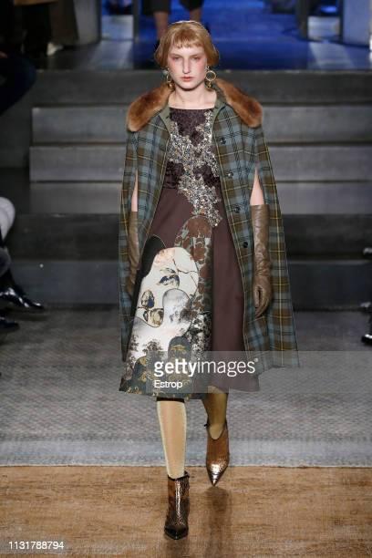 Model walks the runway at the Antonio Marras show at Milan Fashion Week Autumn/Winter 2019/20 on February 20, 2019 in Milan, Italy. Milan, Italy.