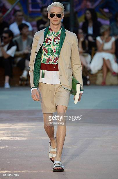A model walks the runway at the Antonio Marras Spring Summer 2015 fashion show during Milan Menswear Fashion Week on June 22 2014 in Milan Italy