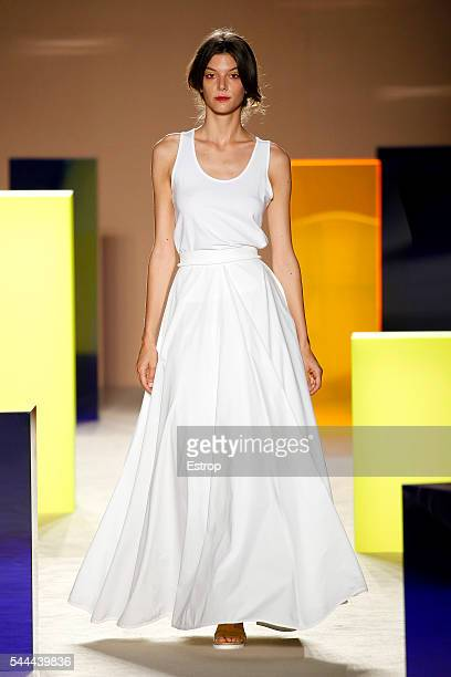 Model walks the runway at the Antonio Miro designed by Alberto Villagrasa show during the Barcelona 080 Fashion Week Spring/Summer 2017 at the INEFC...